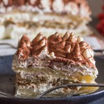 Easy Puff Pastry Tiramisu the traditional creamy Tiramisu filling layered between puff pastry and coffee dipped lady fingers.  The perfect no bake holiday dessert.
