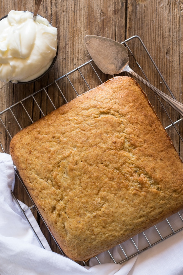 banana cake just baked on a wire rack