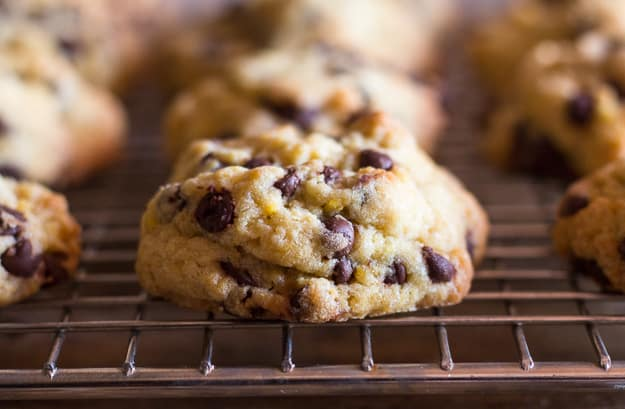 soft chocolate chip cookies on a wire rack