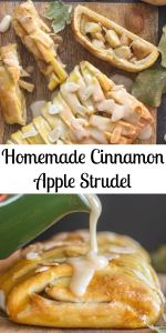 Homemade Cinnamon Apple Strudel, an easy made from scratch dough and filling recipe makes this a delicious anytime dessert. #applestrudel #cinnamon #apple #dessert #strudel