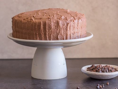 the frosted chocolate cake with mocha icing