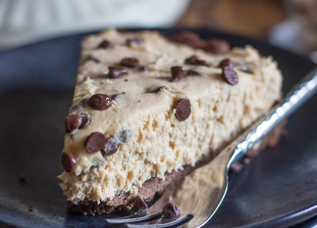 a slice of chocolate chip peanut butter pie