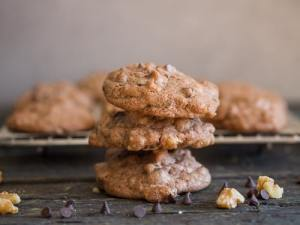 chocolate chip walnut cookies one on top of the other