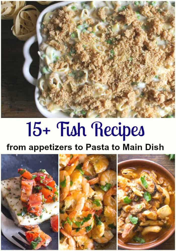 Recipes for Fish Dishes, from a Seafood Appetizer to Shrimp and pasta to baked whole or fillet. From a simple to even a creamy sauce and everything in between. #fish #maindish #pasta #appetizers #salmon #shrimp