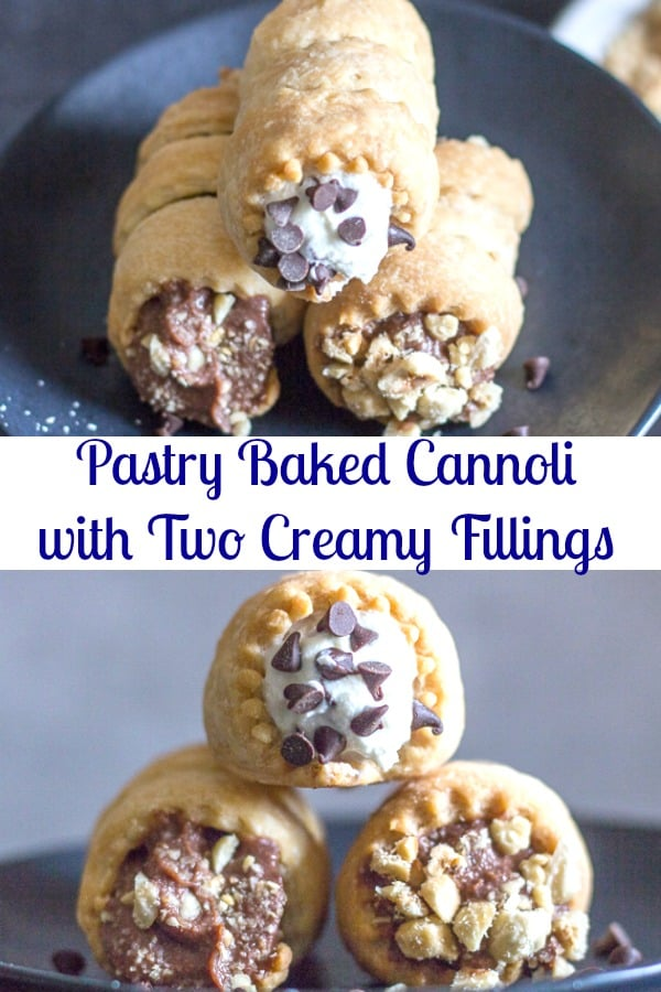 Pastry Baked Cannoli, are an easy homemade flaky pie dough filled with a Nutella filling or a traditional Ricotta filling. Both creamy and delicious. Take your pick or do both.#cannoli #Italiancuisine #bakeddessert #dessert