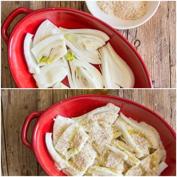 baked fennel recipe raw in the baking dish and sprinkled with crumb mixture