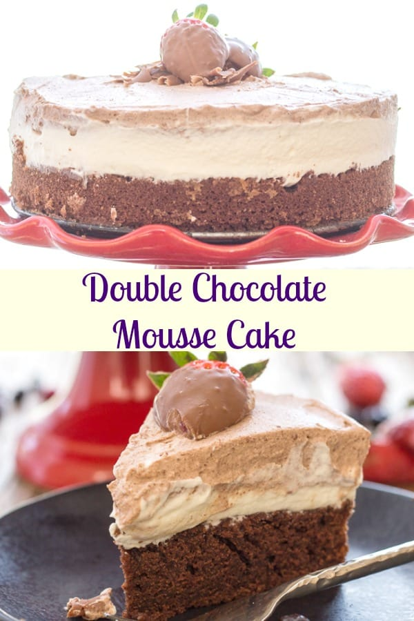 Double Chocolate Mousse Cake, is a moist Chocolate Cake topped with a white chocolate and dark chocolate mousse.  Creamy, decadent and delicious.  The perfect Special Occasion or Just Because Cake.  So Good.  #mousse #dessert #chocolatemoussecake #cake