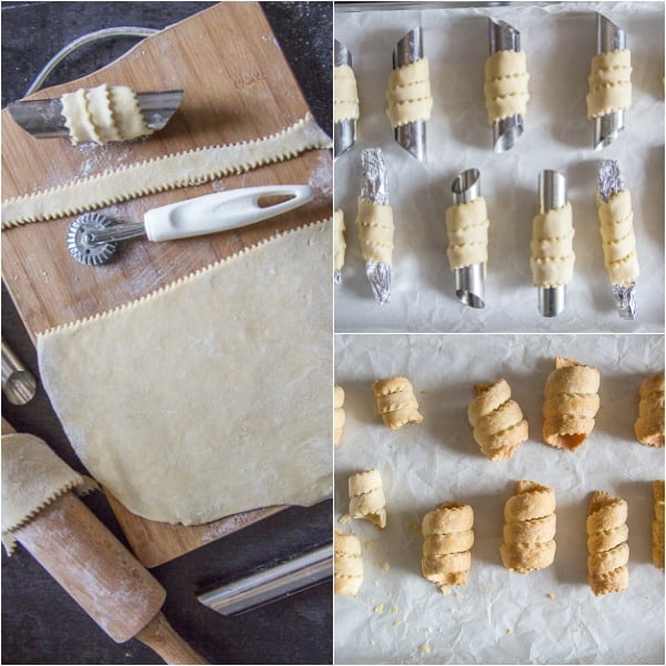 baked cannoli how to make, rolled pastry, cut and rolled on cylinders and baked