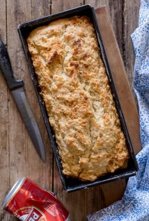 baked beer bread in a loaf pan