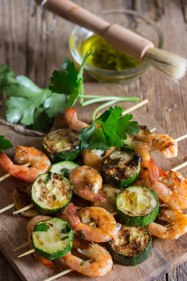 grilled shrimp on a board