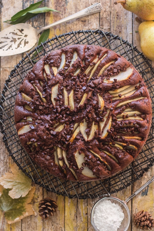 chocolate pear cake on a wooden board