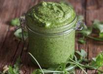 up close arugula pesto in a jar