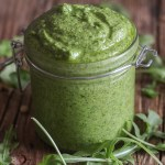 up close arugula pesto in a jar