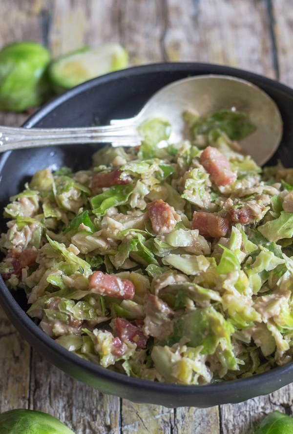 brussel sprout salad in a bowl