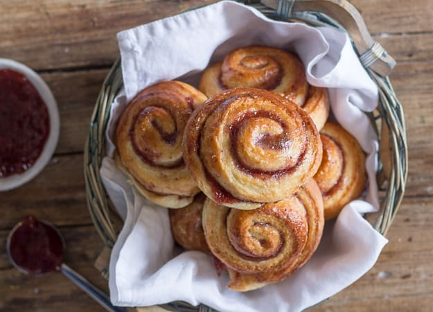 yeast rollups with jam in a basket