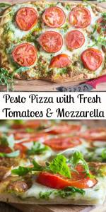 Pesto Pizza is the perfect delicious change from a regular Pizza Margherita,  a creamy Pesto makes the perfect base, then topped with slices of fresh tomatoes and shredded mozzarella.  Pizza night never tasted so good! #pizza #pestopizza #dinner #Italianrecipe #pizzadough #mozzarellapizza #tomatopizza