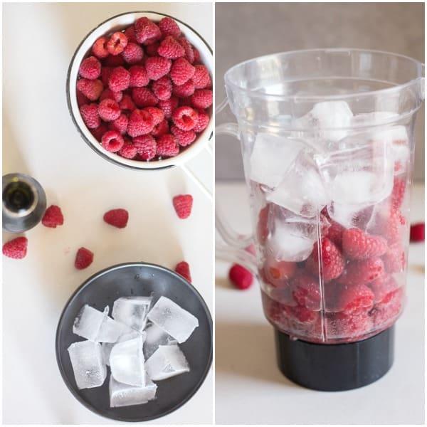 prosecco slushie, how to make ingredients raspberries, ice and ingredients in the blender.