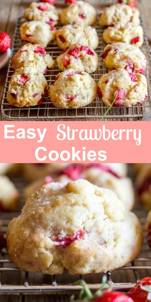 Easy Strawberry Cookies made with Fresh Strawberries and baked in 15 minutes.  One  bowl, no beaters necessary, soft, delicious cookies. The perfect summertime cookie recipe.  Drizzle with melted chocolate and make them extra special. #cookies #strawberrycookies #summerrecipe #fruitrecipe #berries #cookierecipe
