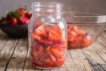freezer strawberries in a jar