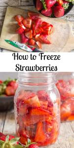 The best way to freeze strawberries is the simplest and easiest. And I learned it all from my Italian Aunt! All you need are strawberries, a little lemon juice, some sugar and a couple of jars! #strawberries #freezingstrawberries #fruit #summerfruit