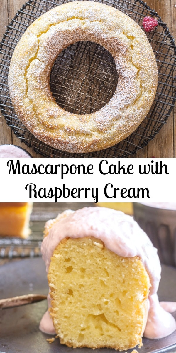 Mascarpone Cake, a moist Italian Cake perfect on it's own or served with a fresh Raspberry Cream sauce.  An easy and delicious Dessert recipe. #cake #mascarpone #Italiancake #dessert #sweets #breakfast #snack