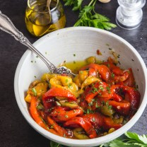 roasted peppers in a white bowl