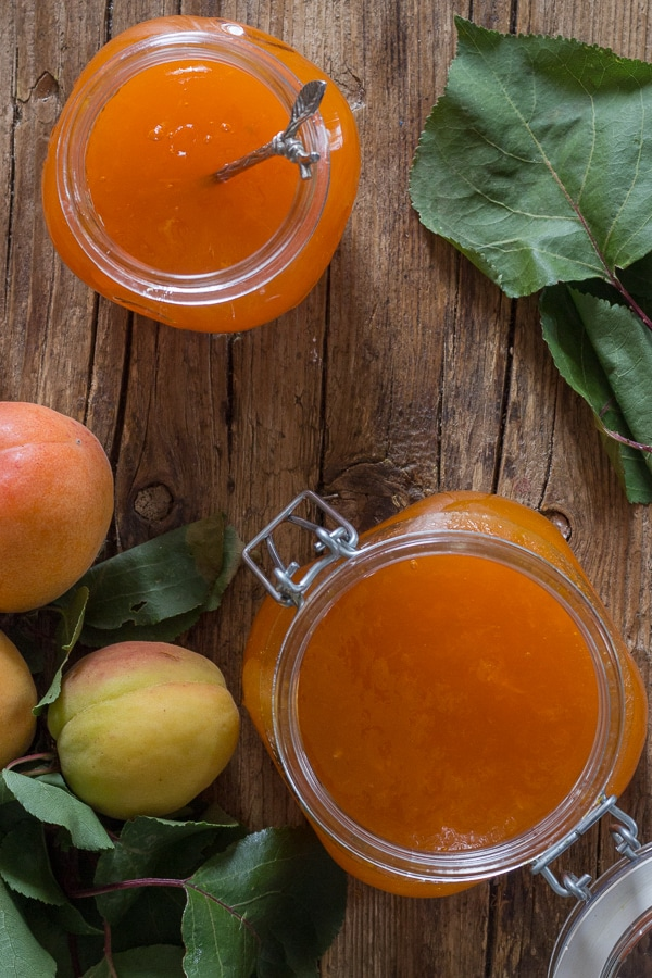apricot jam in two jars