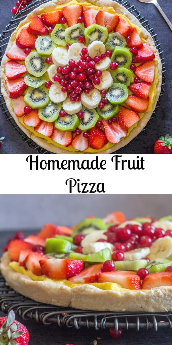A delicious Fruit Pizza made from scratch with a flaky pie crust base, an easy Italian pastry cream and topped with mounds of fresh fruit!  The perfect dessert. #dessert #fruitpizza #pastrycream #piecrust #sweets #summerdessert #fruitdessert #berrydessert