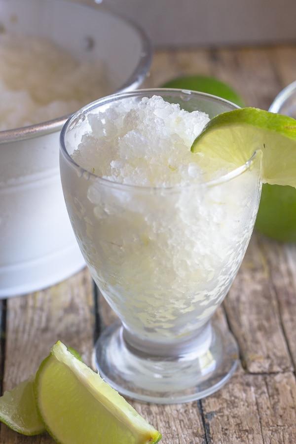 lime granita in a glass