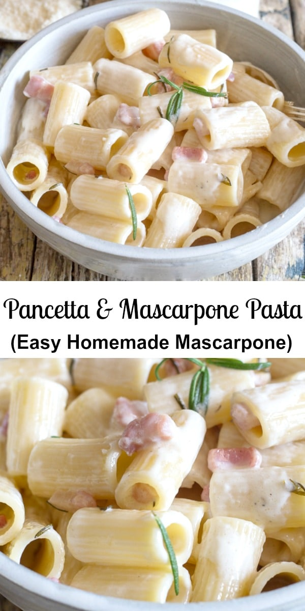 A simple creamy full of flavour Pasta Dish. Mascarpone Pasta made with mascarpone cheese and pancetta. Make it with homemade Mascarpone, so easy and delicious.#pasta #mascarpone #pancetta #bacon #Italianpastarecipe #dinner #maindish