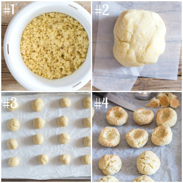 peach cookies how to make, the dough shaping the cookies hollowing the cookies