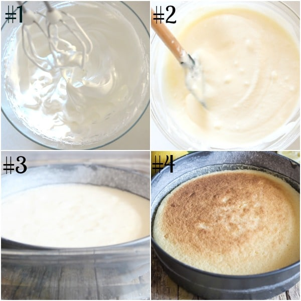 pudding cake how to make, stiff egg whites, batter in a pan and baked