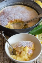 pudding cake in the pan and a piece on a plate
