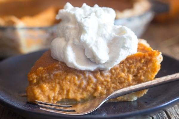 up close slice of Pumpkin Pie