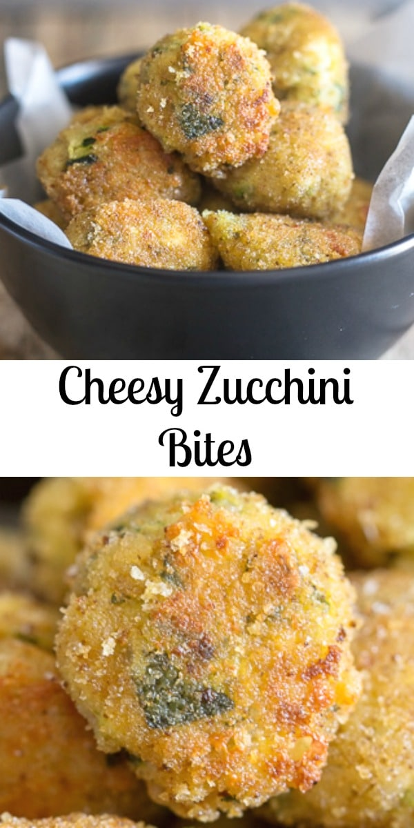 Too much Zucchini? Make some delicious Cheesy Zucchini Bites, double cheese makes these the perfect side dish or appetizer. #zucchinibites #zucchini #appetizers #Italianrecipe #sidedish #partyfood