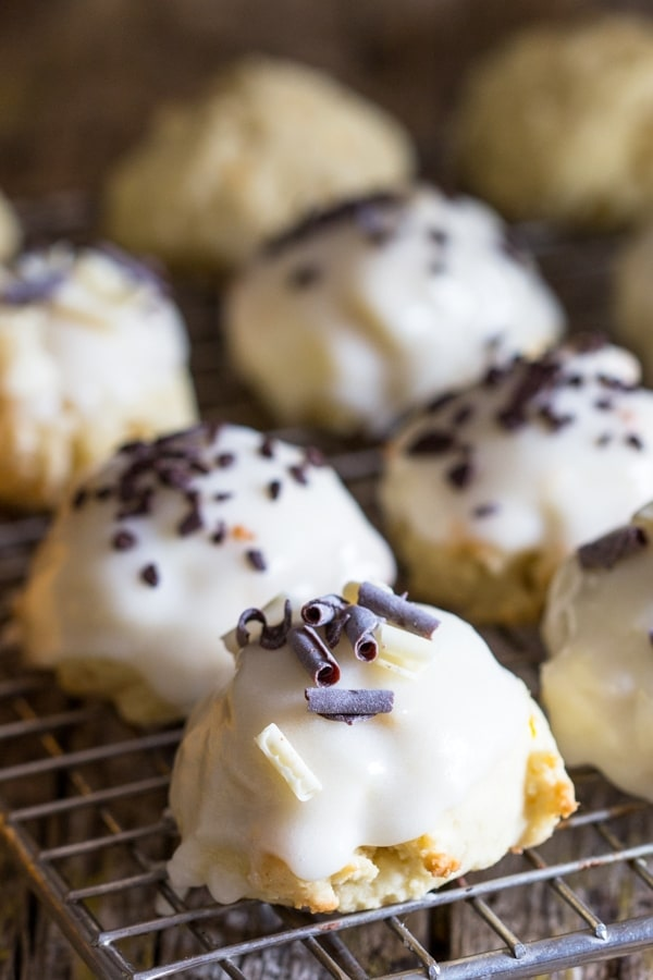 ricotta cookies glazed on a wire rack