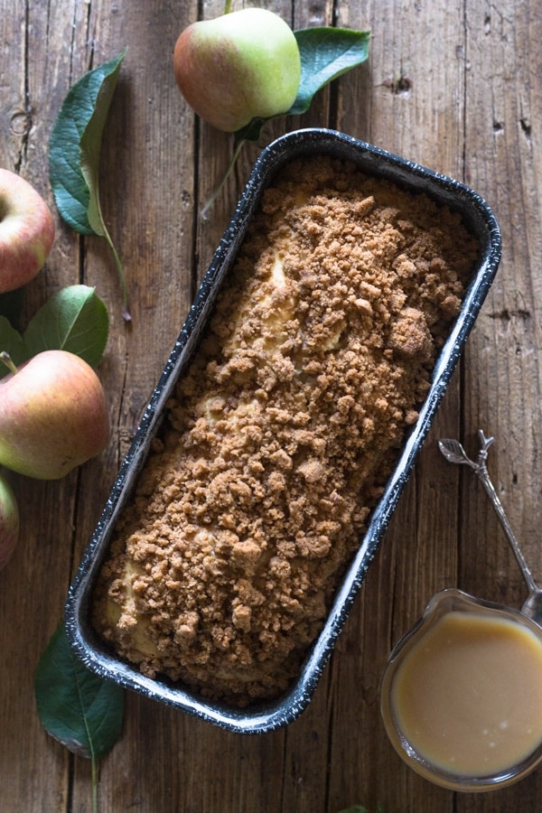 apple crumb bread just baked in a loaf pan