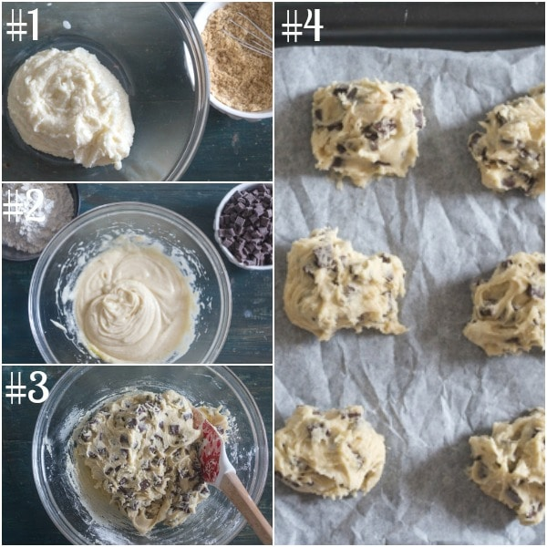 chocolate chunk cookies how to make, making the dough and unbaked cookies on the sheet