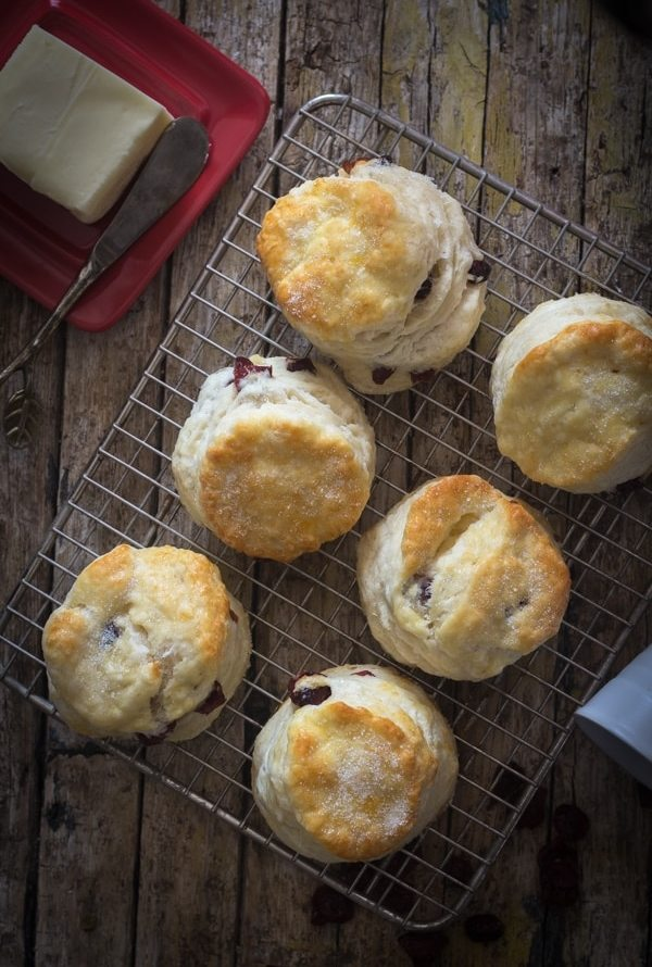cranberry scones on a wire rack