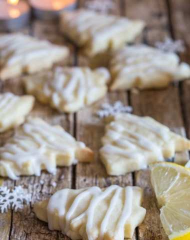 lemon shortbread cookies on a wooden board