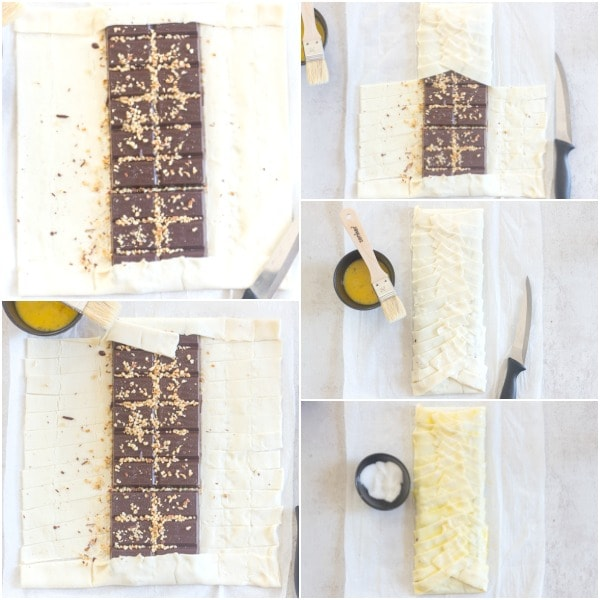 chocolate pastry how to make adding the chocolate, cutting strips and braiding