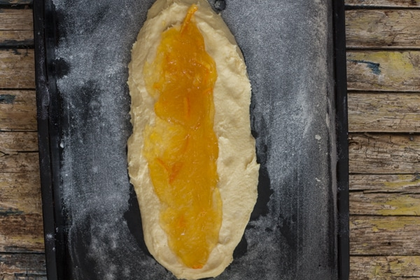 jam on the dough for Ciambella Romagnola