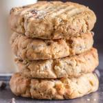 4 peanut butter chocolate chip cookies stacked