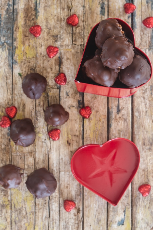 baci chocolates in a red heart box