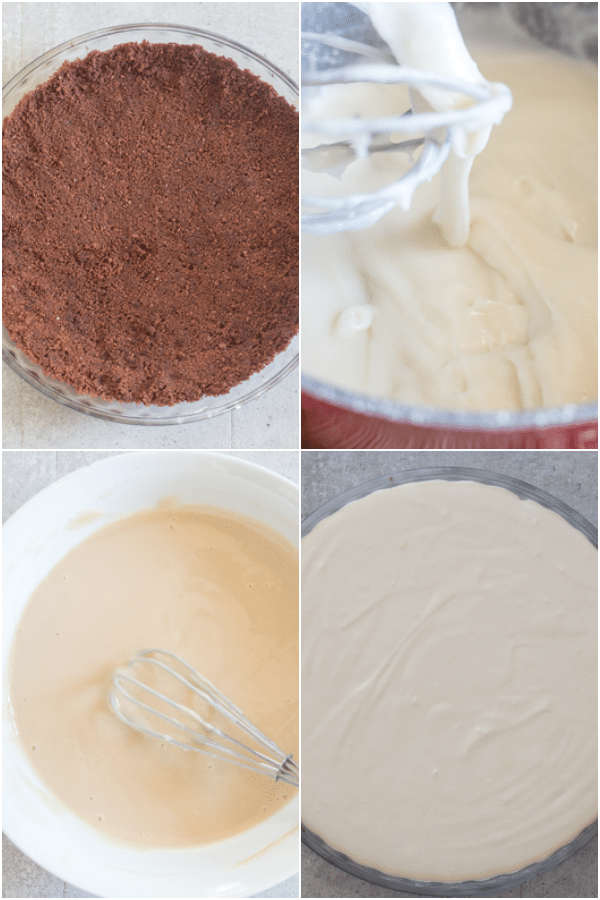 baileys mousse pie how to make crumb base, mouse ingredients in the pie