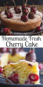 This fast and easy Cherry Cake is deliciously moist, made with yogurt and bursting with fresh cherries.  Serve it plain or with a dollop of whipped cream and a fresh chocolate dipped cherry! #cake #cherrycake #freshcherrycake #cakerecipe #breakfast #dessert #snack #sweets