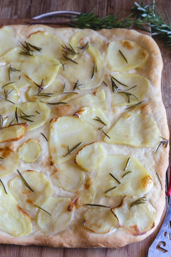 potato pizza simple with sliced potatoes
