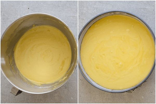 sponge cake how to make batter mixed in the bowl and batter in the cake pan