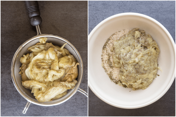 eggplant meatballs pulp in a sieve and mixed in a bowl