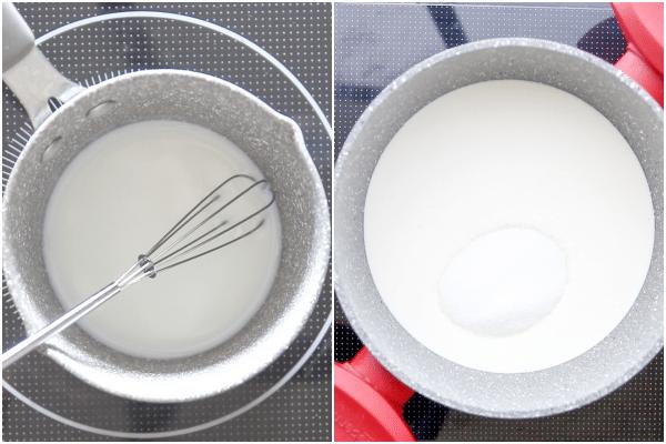 how to make panna cotta heating the gelatine and cream